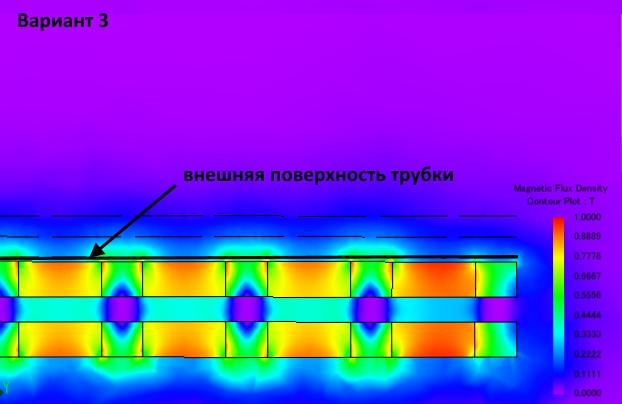 Картина магнитного поля магнитного стержня 10 мм